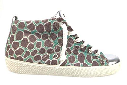 scarpe donna LEATHER CROWN sneakers argento verde pelle tessuto AP610 (38 EU)