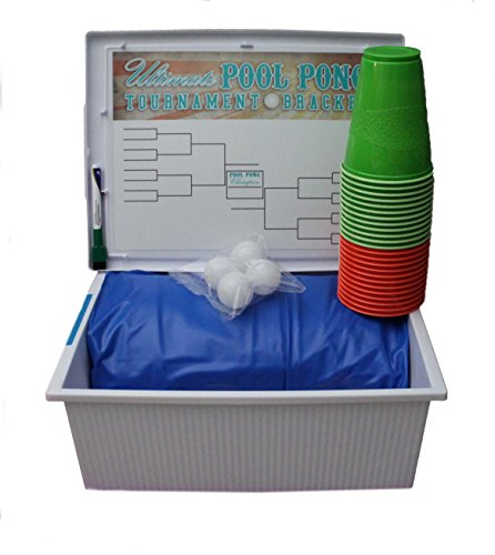 The Ultimate Pool Party Pong 6 Piece Tournament Set; Includes Inflatable Pool Pong Table, Ping Pong Balls, Cups, Dry Erase Tourney Bracket With Pen & Water Resistant Storage Box