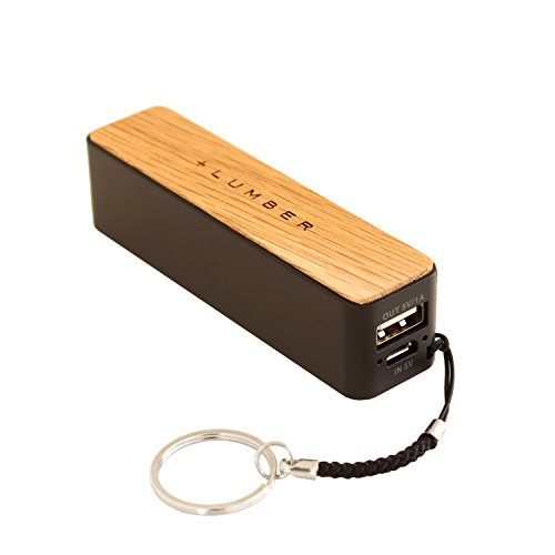 +LUMBERbyHacoa POWERBANK2600 iPhone・スマホに最適、おしゃれな木製モバイルバッテリー・モバイルブースター (Oak)