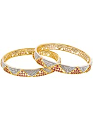 Arnav Creations Silver And Gold Metal Bangle Set For Women - Set Of 2 (Size: 2.6, ACB0033)
