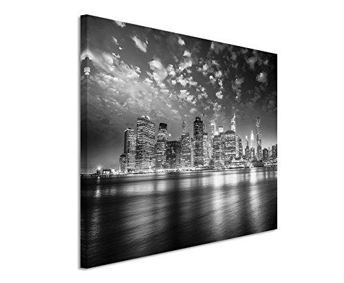 50x70cm Leinwandbild schwarz weiß in Topqualität Sonnenuntergang Skyline Manhattan