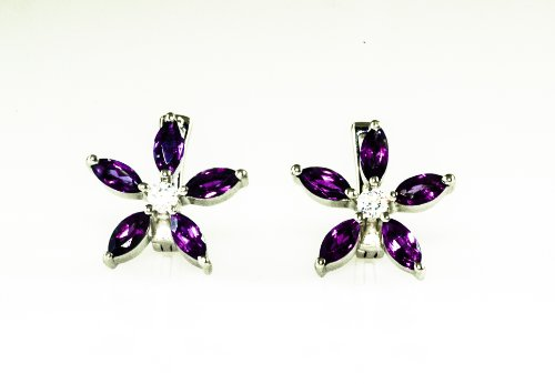 14k Gold Plated Sunflower Amethyst Earring in Sterling Silver