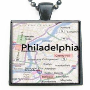 Philadelphia Pennsylvania Map Glass Black Tile Pendant Necklace With Black Chain