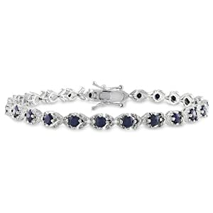 Sterling Silver Black Sapphire and Diamond Bracelet (0.02 cttw, H-I Color, I2-I3 Clarity), 7