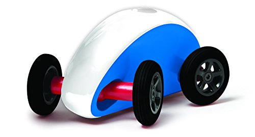 Finger Car Wonky Wheels, Blue with White Stripe - 1