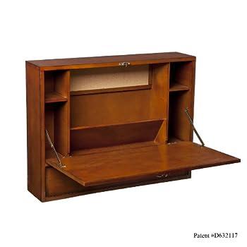 Wall Mount Laptop Desk - Brown Mahogany
