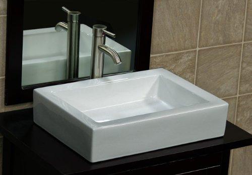 Bathroom Rectangular Ceramic Porcelain Vessel Vanity Sink 7241/N3 Combo + Free Brushed Nickel Faucet, Brushed Nickel Pop Up Drain With No Overflow