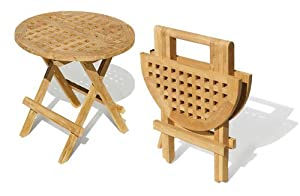 Folding Picnic Round Table - A- Grade Teak Folding Garden ...