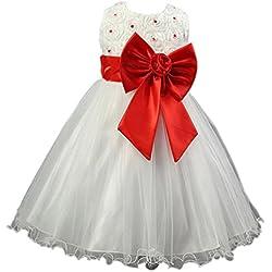 Waboats Ragazze Estate Velo Da Sposa Principessa Vestito Bambino Cerimonia Rosso 4 anni