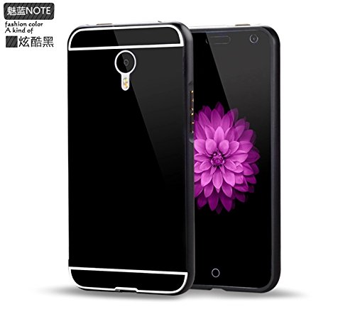 Luxury Aluminium Frame Acrylic Back Cover Case Bumper For Meizu M1 Note- Black