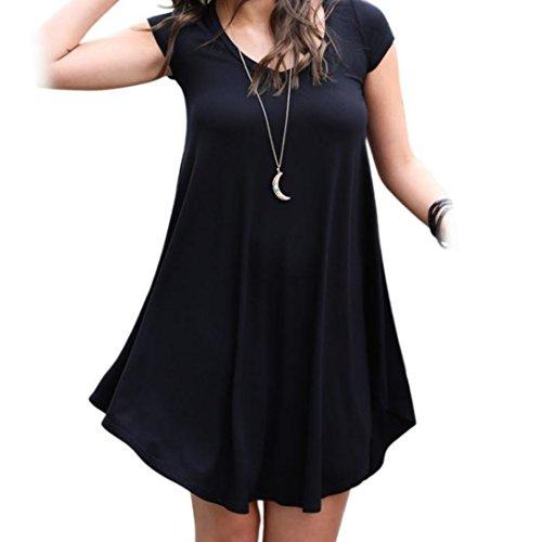 Wensltd Clearance! Women Short Sleeve Party Cocktail Dress Mini Dress (XL, Black)