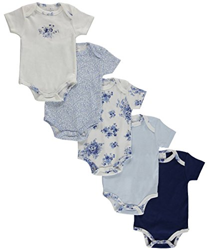 "Laura Ashley Baby Girls' ""Blue Blossoms"" 5-Pack Bodysuits - blue, 0 - 3 months"