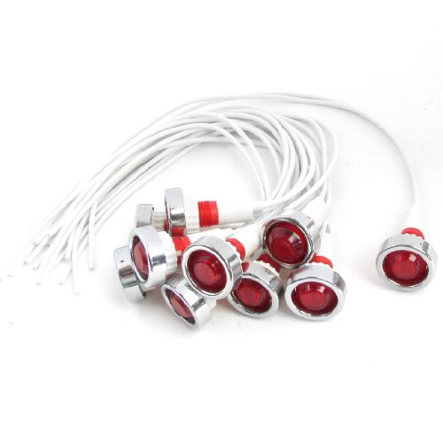"7.8"" Long Cable Red Bulb Power Indicator Dash Pilot Light 220V 10 Pcs"