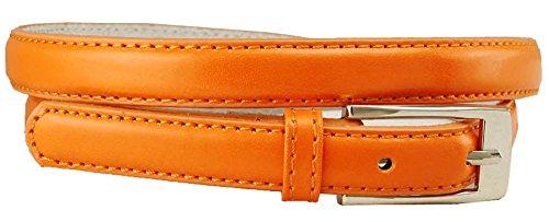 Solid Color Leather Adjustable Skinny Belt, Small (27