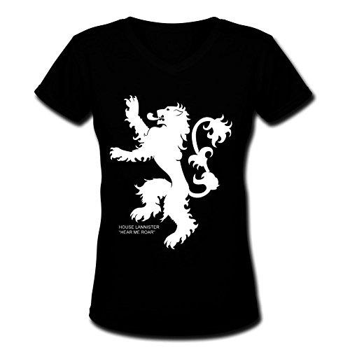 DETee Lannister Cotton A0488 Black Short Sleeve Womens V-Neck T-Shirt