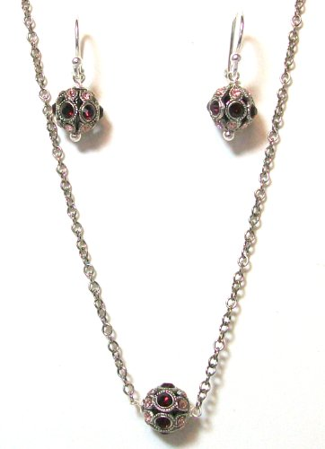 Pearlstone Sterling Silver Vintage Inspired Pave Crystal Ball Strand Necklace With Burgundy and Pink Swarovski Crystals With Matching Earrings