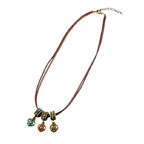 Rosallini Bronze Tone Metal Heart Shape Glittery Pendant NecklaceNecklace
