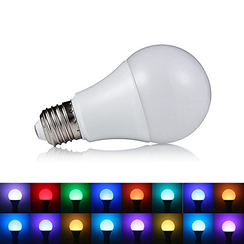 SHANHAI A19 Medium Base Standard Screw-in Base 16 Colors Changing 5W RGB LED Light Bulbs with 8 Function IR Remote Control for Bar, Party, KTV & Home Decoration - Mood Ambiance Lamp, Pack of 1 (Robot Controler compare prices)