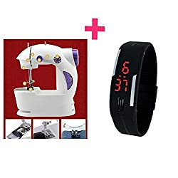 Advance Magic Portable Mini Easy to Use Electric Sewing Machine (Colours as per Availability)+Led Hand Watch Free