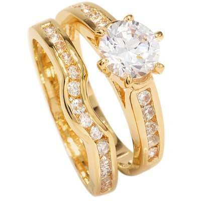 Free Engraving! Ah! Jewellery Ladies 18kt Genuine Gold Filled Simulated Diamonds Ring & Channel Eternity Band. Engagement Wedding Set. UK Guarantee: 3µ / 10 years. Excellent Quality.