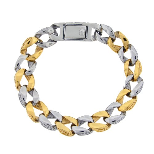 Stainless Steel Casted Textured and Gold Ionic Plating Link Bracelet, 8.75″