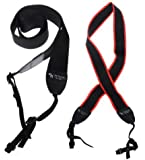 "The Friendly Swede Bundle of 2 Long Camera / Camcorder Neck Shoulder Straps Belt - Length Approximately 36"" + Cleaning Cloth in Retail Packaging (Long - Black/Red + Black)"