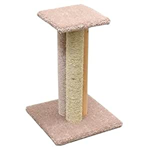 wood cat scratching post cat pole with carpet and sisal beige carpet pet supplies. Black Bedroom Furniture Sets. Home Design Ideas