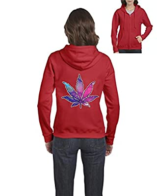 Xekia Marijuana Leaf Galaxy Cannabis 420 Full-Zip Women Hoodie
