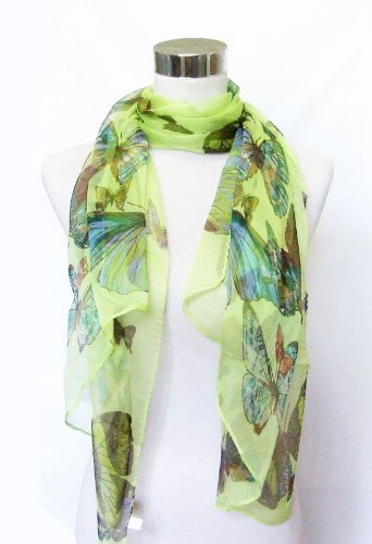 Chiffon Sheer Butterfly Print on Deep Lime - Silk Long Scarf 21 x 66