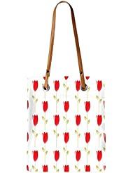 Snoogg Red Flowers Womens Digitally Printed Utility Tote Bag Handbag Made Of Poly Canvas With Leather Handle