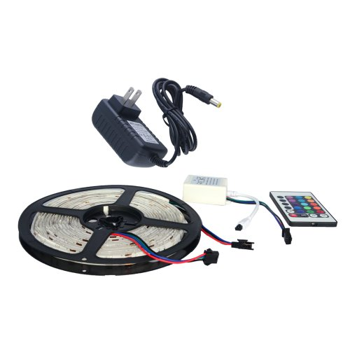 Thg Waterproof Rgb 5M 16.4Ft 5050 Smd 150 Led Flexible Strip Lights Lighting 12V + Ir Remote Control Receiver+ 2A Power Supply Adapter