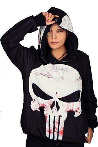 [Xcoser Punisher Hoodie Cosplay Costume for Halloween Pullover Full Zip Hood XXL] (Punisher Cosplay Costume)