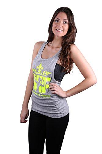 LADIES/Fitness da donna Loose TANK TOP grigio locker, taglio informale con Elemental Force Logo in colori fluo giallo