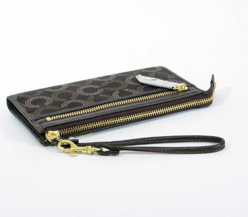 Coach 44422 Poppy Op Art Signature Zip Wallet Wristlet Clutch Brown