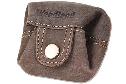 Woodland - Micro-tasca per le monete o le piccole parti in morbido, pelle di bufalo trattata in marrone scuro / Taupe