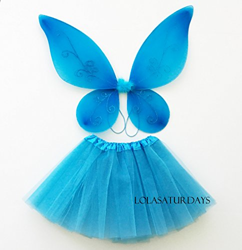 Lolasaturdays Fairy wing and dress set (blue) (Fairy Costume Wings)