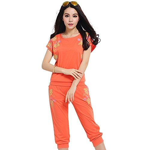 WML Women's Short Sleeve Printed Shirts and Capris 2-Piece Clothing Sets Tracksuits