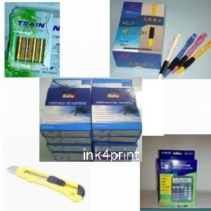 A great deal : 7-pack (4 black+3 color) HP 94 95 + 12 digit solar calculator + 32-pk ball pens + cutter, snap off, + 4-pk AA batteries, great Value........!!!!... for printers C8765WN C8766WN Remanufactured ink inkjet cartridges