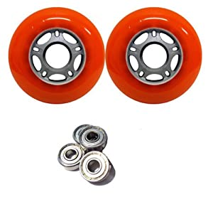 76mm 84a Replacement wheels AND BEARINGS for Ripstik Orange Asphalt Formula by TGM Skateboards