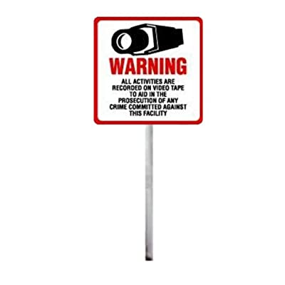 """SECURITY SIGN - #204 Outdoor Security Surveillance CCTV Video Warning! Sign #204 on 36"""" Stake"""