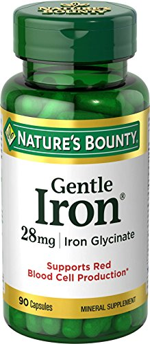 Nature's Bounty Gentle Iron 28 mg Iron Glycinate, 90 Capsules (Pack of 3) (Iron Capsules compare prices)