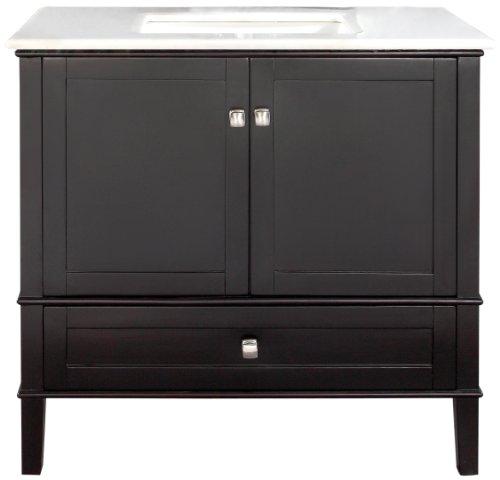 Simpli Home NL-ROSSEAU-ES-36-2A Chelsea Collection 36-Inch Bath Vanity, Black, 1-Pack