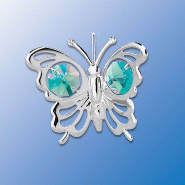 Chrome Butterfly Ornament – Green Swarovski Crystal