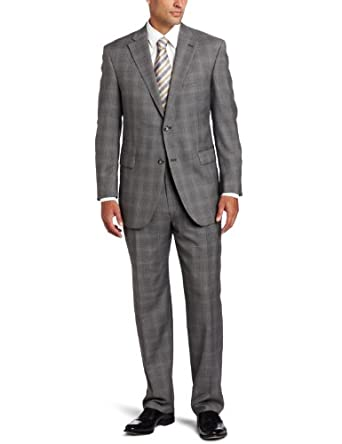 Austin Reed Men's Signature Two Piece Suit With Pleated Pant, Gray, 38/Small