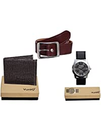 Combo Pack Of Black Denim Shade Wallet With Brown Belt With YuniiQ Stlish Analog Watch.