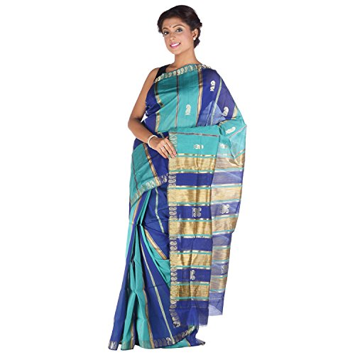 Elife Elife Blue And Sea Green Cotton Silk Saree For Women (Multicolor)