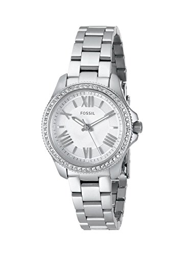Fossil AM4576 - Reloj para mujeres, correa de acero inoxidable color plateado