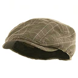 MG Men\'s Plaid Ivy Newsboy Cap Hat (Brown, Large)