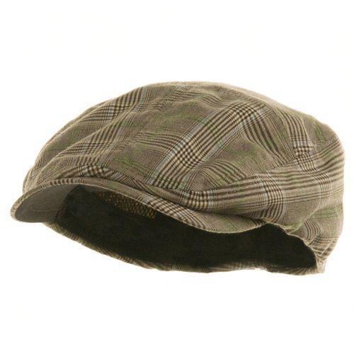 MG Men's Plaid Ivy Newsboy Cap Hat (Brown, Large)