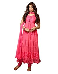 Aaryan Women's Semi-Stitched Anarkali Dress Material (KH-Pink01_Pink_Free Size)